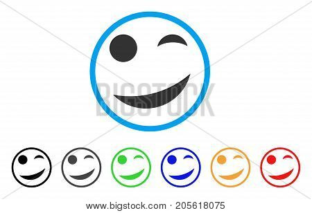 Joke Smile rounded icon. Style is a flat joke smile gray symbol inside light blue circle with black, gray, green, blue, red, orange variants. Vector designed for web and software interfaces.