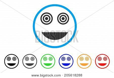 Mad Smile rounded icon. Style is a flat mad smile gray symbol inside light blue circle with black, gray, green, blue, red, orange variants. Vector designed for web and software interfaces.