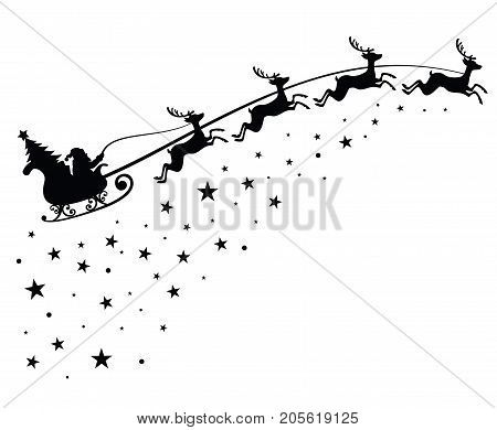 Santa Claus on sleigh flying sky with deers black vector silhouette for winter holiday decoration and Christmas greeting card. Monochrome santa claus with christmas tree in night sky illustration