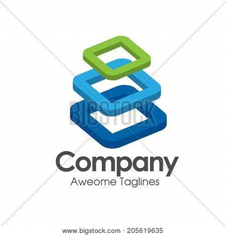 building blocks logo set, abstract geometric logos, structure logos