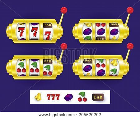 Slot machine display showing various jackpot winning combinations, vector illustration isolated on white background. Set of slot machine display variants, spinning reels, lever and jackpot symbols