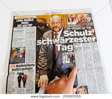 PARIS FRANCE - SEP 25 2017: Die Bild newspaper with portrait of Martin Schulz after election in Germany for the Chancellor of Germany the head of the federal government