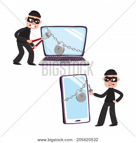 Hacker in mask trying to break lock protection of huge, giant laptop and smartphone, cartoon vector illustration isolated on white background. Hacker breaking, cracking laptop, smartphone protection