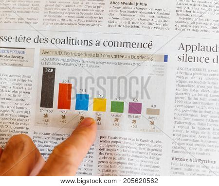 PARIS FRANCE - SEP 25 2017: International newspaper results after election in Germany for the Chancellor of Germany the head of the federal government