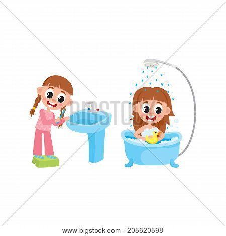 vector flat girl kid making routine hygiene set. One standing at stand near blue sink washbasin brushing teeth, another Child character washing at bathtub. Isolated illustration on a white background