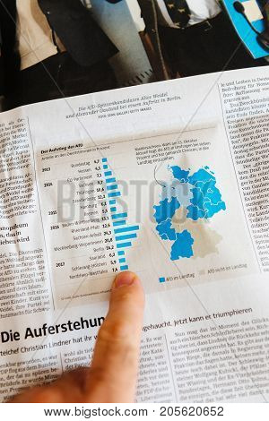 PARIS FRANCE - SEP 25 2017: International newspaper with Germany map chart after election in Germany for the Chancellor of Germany the head of the federal government