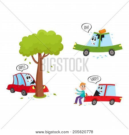 vector flat car characters with face accident set. Vehicle crashed into the tree saying oops, car hit pedestrian saying sorry, brick fallen to auto's roof . Isolated illustration on a white background