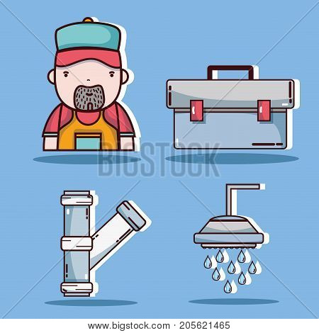 set mechanical tool to repair service vector illustration