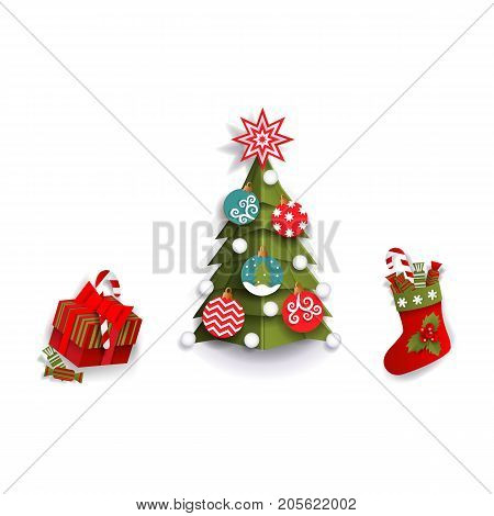Paper cut Christmas tree, stocking and present box, decoration elements, flat vector illustration isolated on white background. Flat, paper cut Christmas tree, stocking and present box decorations