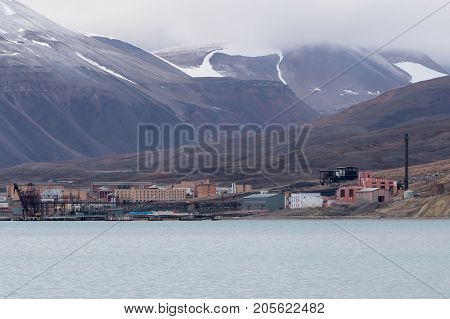 Abandoned buildings in the ghost Soviet/ Russian settlement Pyramiden in Svalbard archipelago.