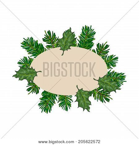 Hand drawn fir tree and mistletoe oval frame, label, banner, Christmas decoration element, sketch vector illustration on white background. Oval frame of hand drawn pine twigs and mistletoe leaves