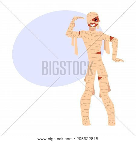 Young man wrapped in bandages, spooky mummy Halloween party costume, cartoon vector illustration with space for text. Man dressed as mummy, wrapped in bandages, Halloween party costume