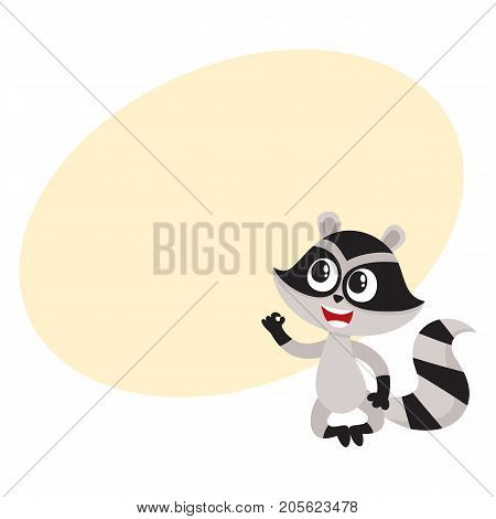 Cute little raccoon character sitting in lotus pose showing okay, ok gesture, cartoon vector illustration with space for text. Funny little raccoon showing okay, ok, sitting in lotus position