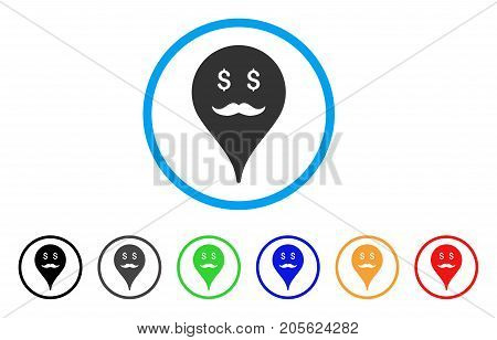 Banker Smiley Map Marker rounded icon. Style is a flat banker smiley map marker gray symbol inside light blue circle with black, gray, green, blue, red, orange color versions.