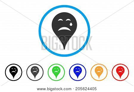 Cry Smiley Map Marker rounded icon. Style is a flat cry smiley map marker grey symbol inside light blue circle with black, gray, green, blue, red, orange versions.