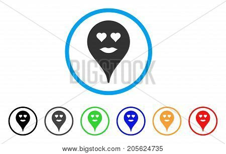 Lady Love Smiley Map Marker rounded icon. Style is a flat lady love smiley map marker grey symbol inside light blue circle with black, gray, green, blue, red, orange versions.
