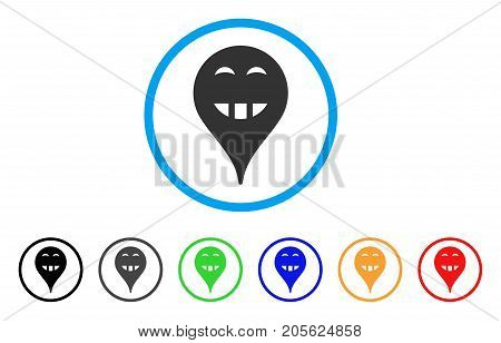 Laugth Smiley Map Marker rounded icon. Style is a flat laugth smiley map marker gray symbol inside light blue circle with black, gray, green, blue, red, orange variants.