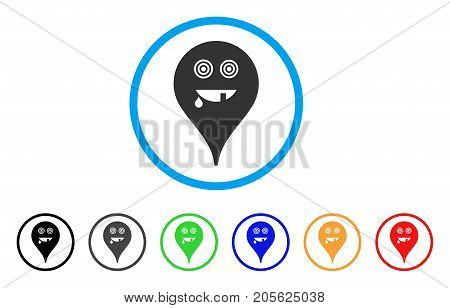 Maniac Smiley Map Marker rounded icon. Style is a flat maniac smiley map marker gray symbol inside light blue circle with black, gray, green, blue, red, orange variants.
