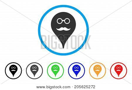 Retired Smiley Map Marker rounded icon. Style is a flat retired smiley map marker gray symbol inside light blue circle with black, gray, green, blue, red, orange variants.