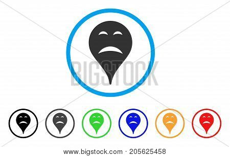 Sadness Smiley Map Marker rounded icon. Style is a flat sadness smiley map marker grey symbol inside light blue circle with black, gray, green, blue, red, orange versions.