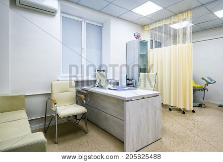 Moscow - September 15, 2017: Modern interior of doctor`s office of gynecologist in a clinic.