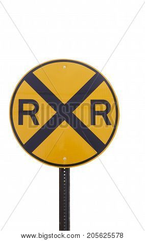 a yellow rail road crossing sign isolated.