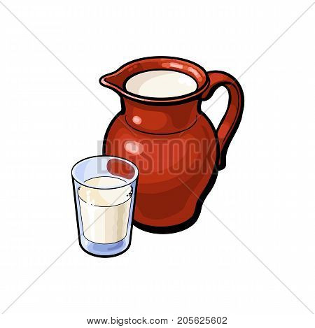 vector sketch cartoon glass of milk and ceramic pitcher jug, crock. Isolated illustration on a white background. Healthy food dairy products, natural dieting concept