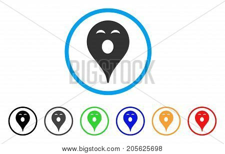 Sleepy Smiley Map Marker rounded icon. Style is a flat sleepy smiley map marker grey symbol inside light blue circle with black, gray, green, blue, red, orange color versions.