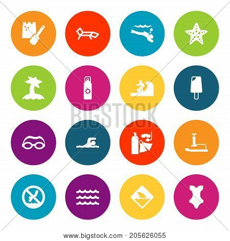 Collection Of Diver, Sundae, Inflating And Other Elements.  Set Of 16 Seaside Icons Set.