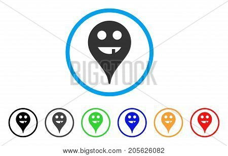 Toothless Smiley Map Marker rounded icon. Style is a flat toothless smiley map marker gray symbol inside light blue circle with black, gray, green, blue, red, orange variants.