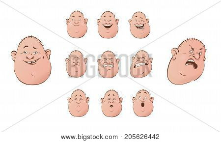 Set of male emoji characters. Cartoon style emotion icons. Isolated bald roly poly men avatars with different facial expressions. Hand drawn flat illustration of emotional faces.