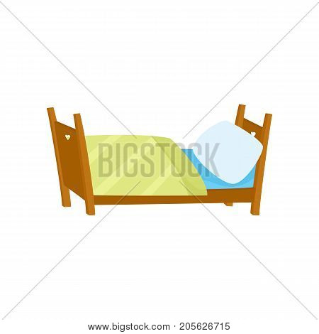 vector flat cartoon wooden bed with white pillow and yellow blanket for boys and girls. Isolated illustration on a white background. Interior design object. daily routine concept