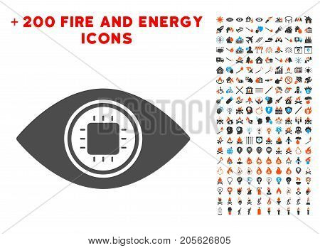 Electronic Eye Lens icon with bonus energy pictograms. Vector illustration style is flat iconic elements for web design, app user interface.
