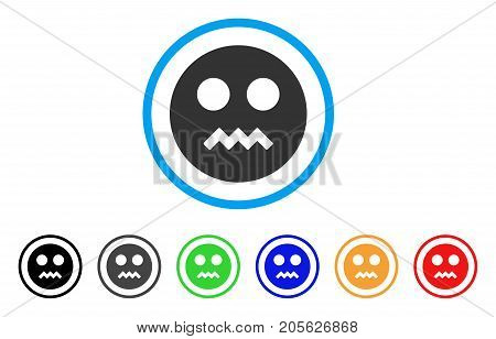 Angry Smiley icon. Vector illustration style is a flat iconic angry smiley symbol with black, gray, green, blue, red, orange color variants. Designed for web and software interfaces.