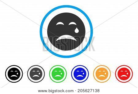 Cry Smiley icon. Vector illustration style is a flat iconic cry smiley symbol with black, grey, green, blue, red, orange color versions. Designed for web and software interfaces.