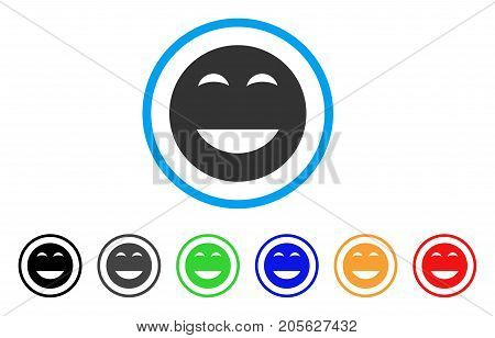 Glad Smiley icon. Vector illustration style is a flat iconic glad smiley symbol with black, gray, green, blue, red, orange color versions. Designed for web and software interfaces.