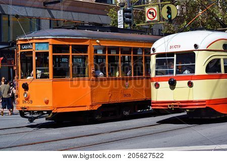 September 19, 2017 in San Francisco, CA:  Railway Street Cars which is part of the local transit system taken in San Francisco, CA where people can ride these historic street cars between the Castro and Fisherman's Warf on Market Street