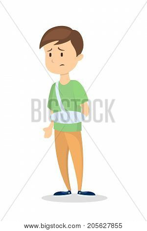 Isolated man with broken arm on white background.