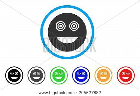 Mad Smiley icon. Vector illustration style is a flat iconic mad smiley symbol with black, grey, green, blue, red, orange color variants. Designed for web and software interfaces.