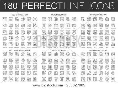 180 outline mini concept icons symbols of seo optimization, web development, digital marketing, network technology, cyber security, human productivity icon isolated.