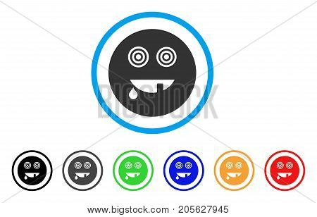 Maniac Smiley icon. Vector illustration style is a flat iconic maniac smiley symbol with black, gray, green, blue, red, orange color additional versions. Designed for web and software interfaces.