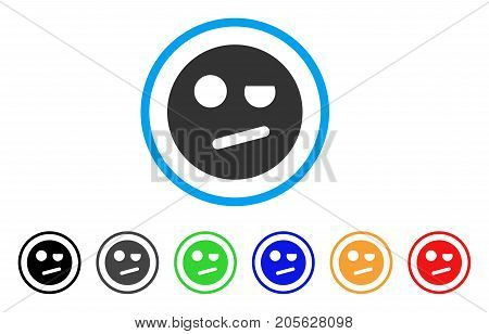 Negation Smiley icon. Vector illustration style is a flat iconic negation smiley symbol with black, grey, green, blue, red, orange color variants. Designed for web and software interfaces.