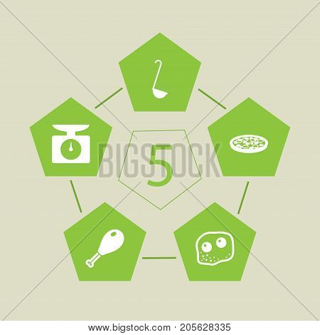 Collection Of Pepperoni, Eggs, Weighing Machine And Other Elements.  Set Of 5 Kitchen Icons Set.