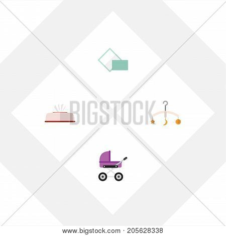 Flat Icon Child Set Of Tissue, Napkin, Stroller And Other Vector Objects