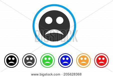 Sad Smiley icon. Vector illustration style is a flat iconic sad smiley symbol with black, grey, green, blue, red, orange color additional versions. Designed for web and software interfaces.