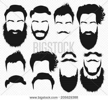 Vector Hair and beard shapes design constructor with men vector silhouette. Fashion silhouette black beard and mustache illustration