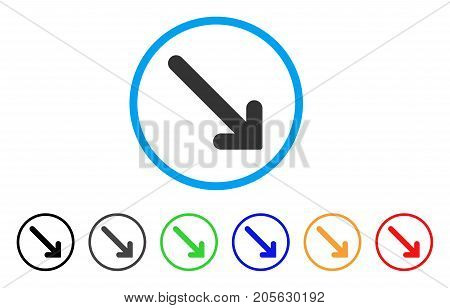 Arrow Down Right icon. Vector illustration style is a flat iconic arrow down right symbol with black, gray, green, blue, red, orange color versions. Designed for web and software interfaces.