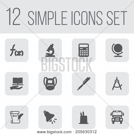 Collection Of Globe, Ringing, Autobus And Other Elements.  Set Of 12 School Icons Set.