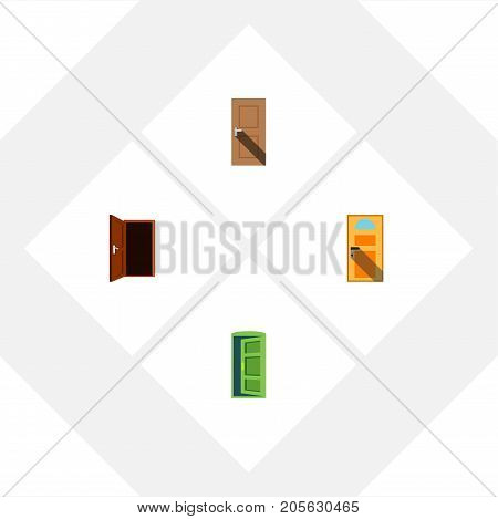 Flat Icon Door Set Of Approach, Frame, Exit And Other Vector Objects