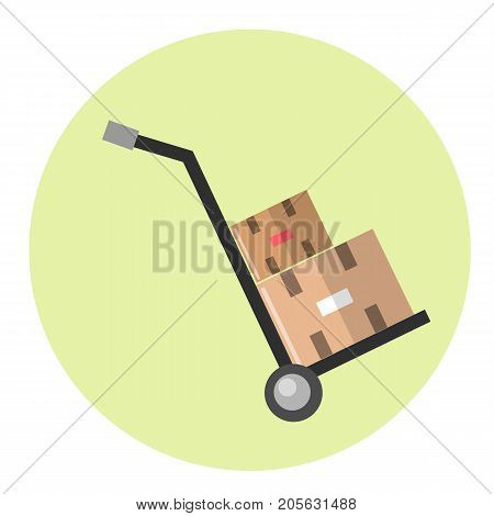 Parcel trolley icon in circle on white background.